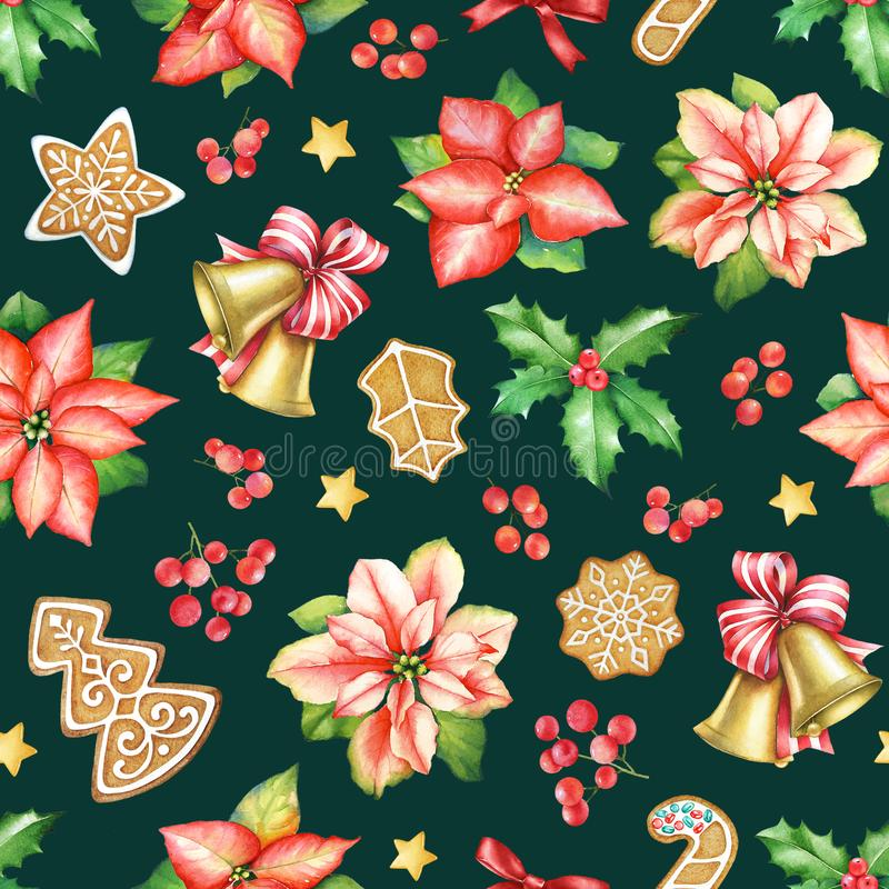 Seamless pattern with poinsettia flowers, ginger cookies, sweets and holly berries vector illustration