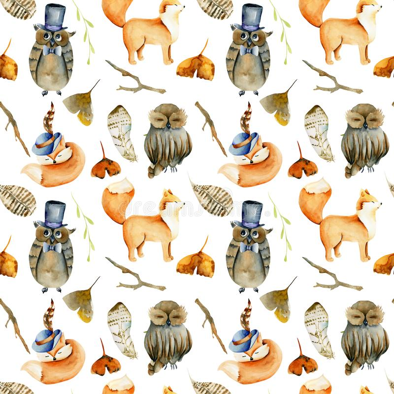 Seamless pattern of watercolor pretty foxes, owls and forest natural elements stock illustration