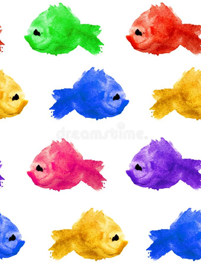 Seamless pattern of watercolor purple yellow green blue red blot stain in the form a silhouette of a fish on a white background stock illustration