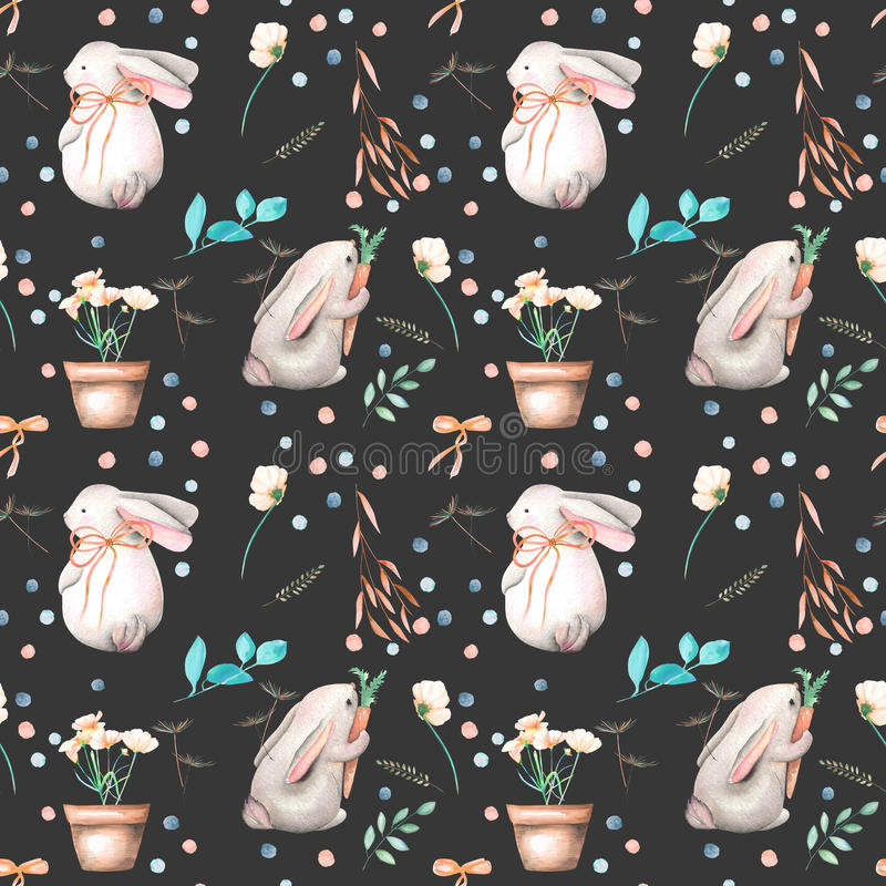Seamless pattern with watercolor rabbits, floral elements and flowers in a pots vector illustration