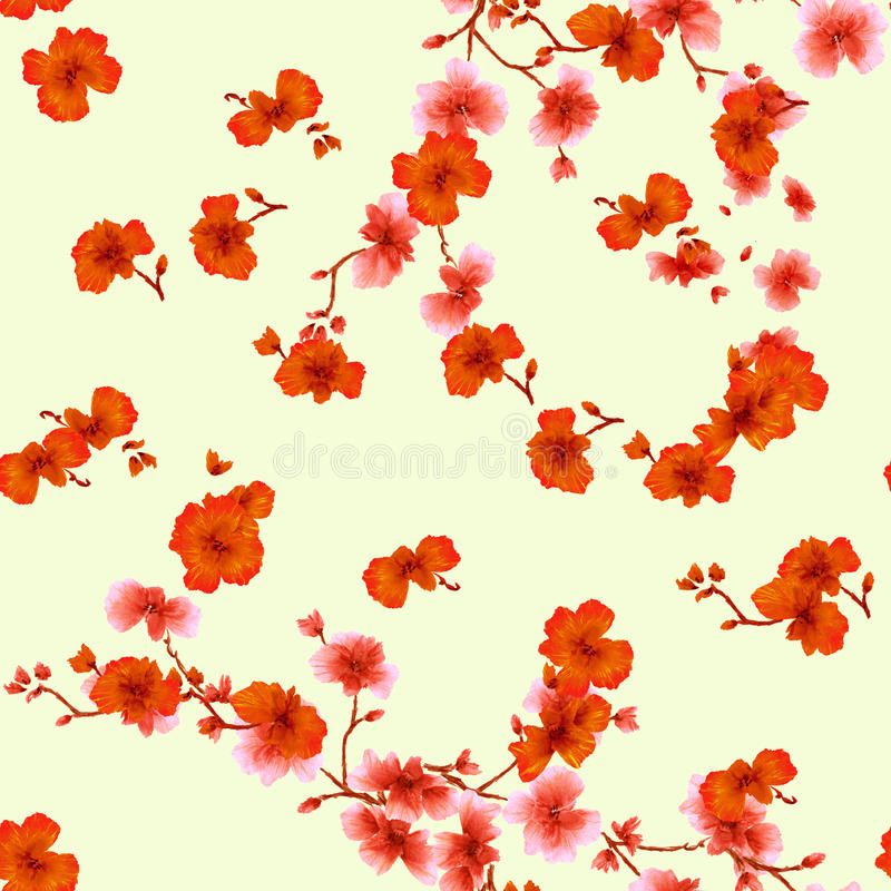 Seamless pattern watercolor red flowers on a yellow background royalty free stock photo