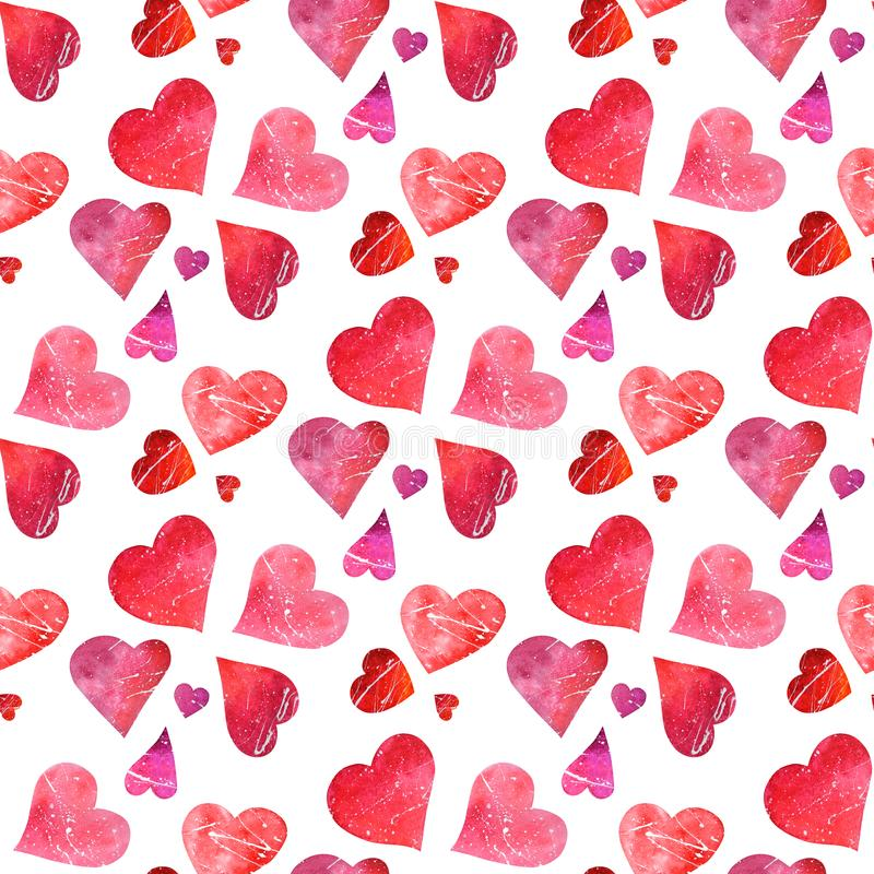 Seamless pattern of watercolor red and pink hearts isolated on t. Cute watercolor seamless pattern of valentine hearts isolated on white background. High stock photo