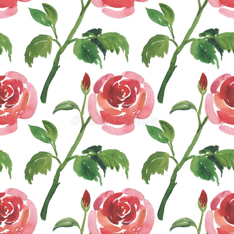 Seamless pattern of watercolor red rose flowers royalty free illustration