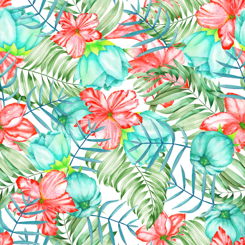 A seamless pattern with the watercolor red and turquoise exotic flowers, hibiscus and the leaves of the palms vector illustration
