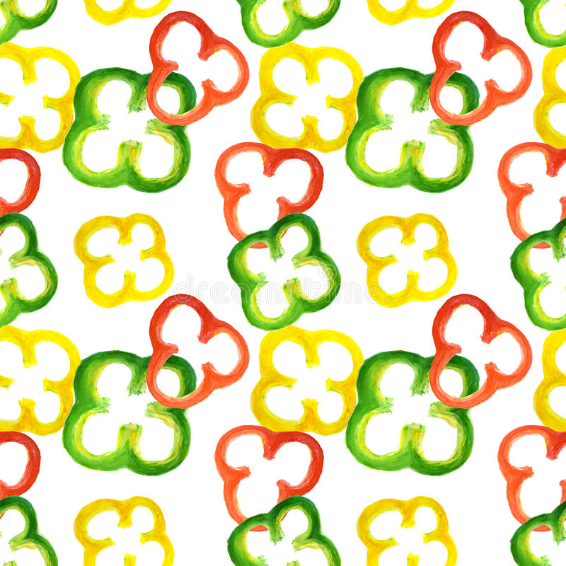 Seamless pattern with watercolor red, yellow and green pepper rings vector illustration