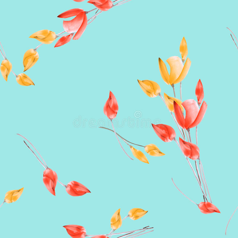 Seamless pattern of watercolor red and yellow tulips on a turquoise background royalty free stock photo