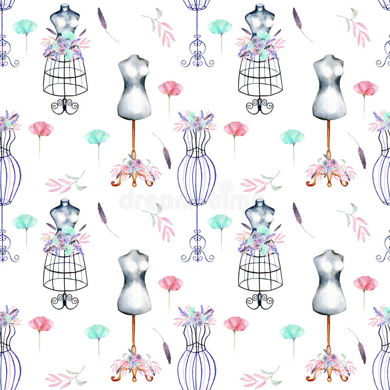 Seamless pattern with watercolor retro mannequins and pink and mint flowers vector illustration