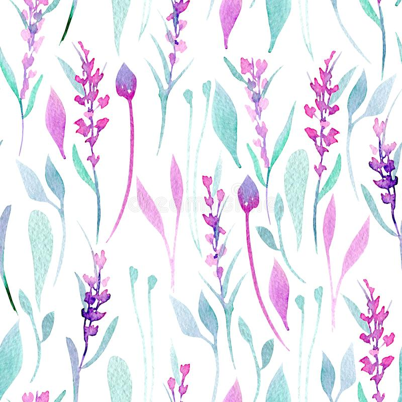 seamless pattern with watercolor simple lavender purple