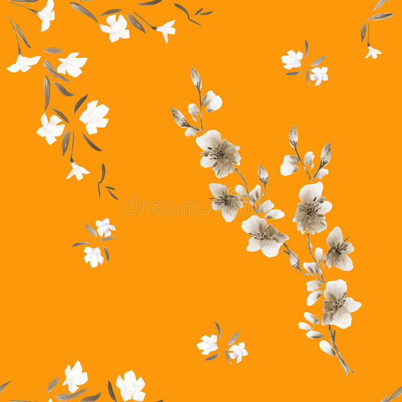 Seamless pattern watercolor small white and beige flowers on the orange background stock image