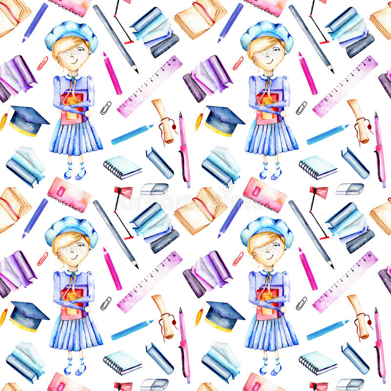 Seamless pattern with watercolor smart schoolgirl, books and stationery objects. Hand painted isolated on a white background stock illustration
