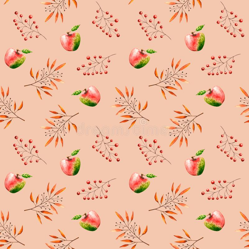 Seamless pattern with watercolor sprigs, leaves, berries, apples. Illustration isolated. Hand drawn autumn items. Perfect for wallpaper, vintage design, poster stock illustration
