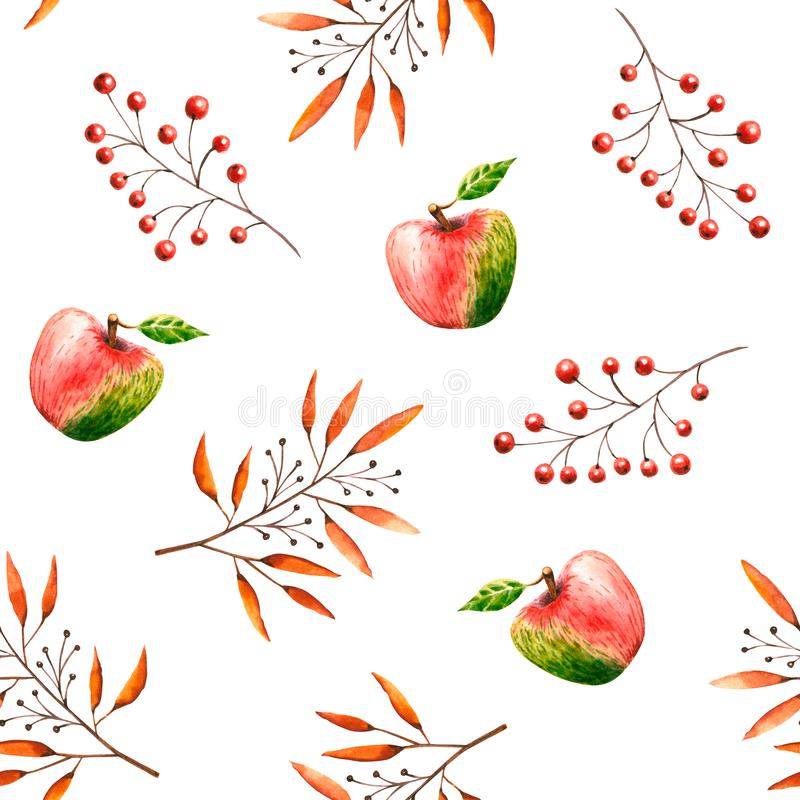 Seamless pattern with watercolor sprigs, leaves, berries, apples. Illustration isolated on white. Hand drawn autumn items. Perfect for wallpaper, vintage design vector illustration
