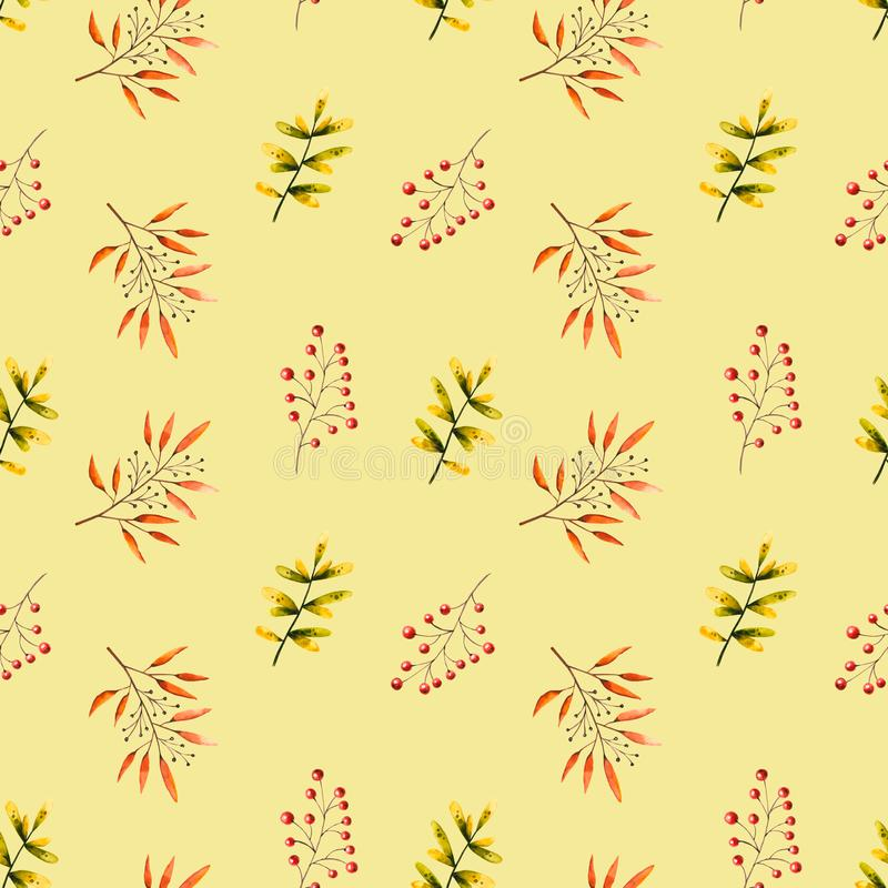 Seamless pattern with watercolor sprigs, leaves, berries, rowan. Illustration isolated. Hand drawn autumn items. Perfect for wallpaper, vintage design, retro vector illustration