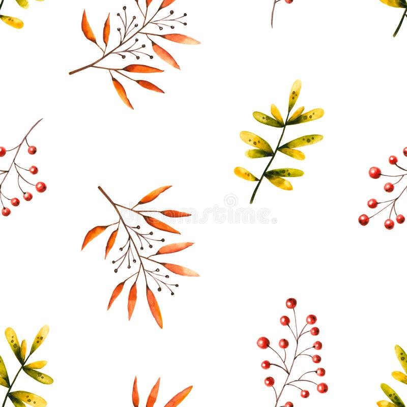 Seamless pattern with watercolor sprigs, leaves, berries, rowan. Illustration isolated on white. Hand drawn autumn items. Perfect for wallpaper, vintage design stock illustration