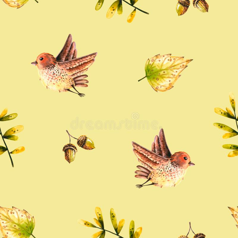 Seamless pattern with watercolor sprigs, leaves, bird, acorn. Illustration isolated. Hand drawn autumn items perfect for wallpaper. Poster, vintage design vector illustration