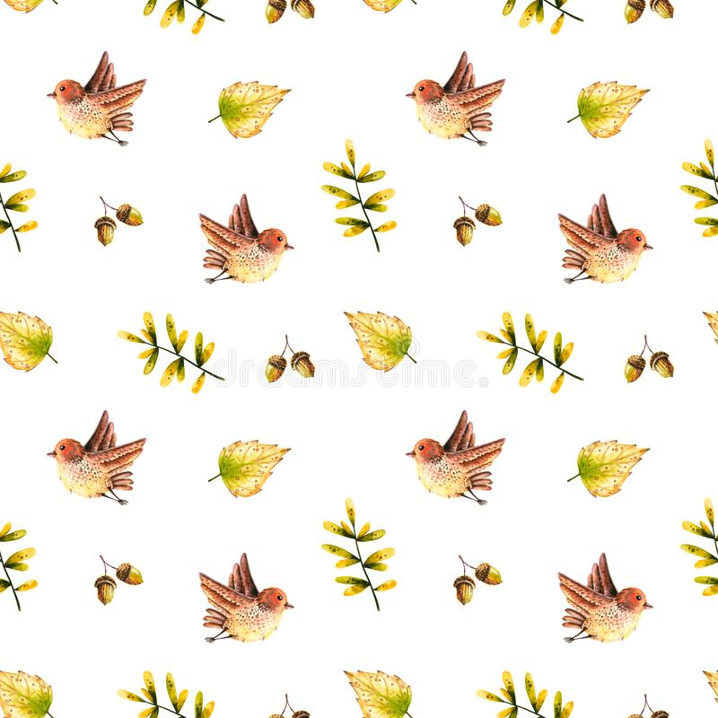 Seamless pattern with watercolor sprigs, leaves, bird, acorn. Illustration isolated on white. Hand drawn autumn items. Perfect for wallpaper, poster, vintage vector illustration