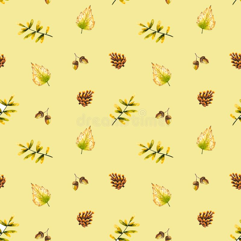 Seamless pattern with watercolor sprigs, leaves, pine cone, acorn. Illustration isolated. Hand drawn autumn items. Perfect for wallpaper, poster, vintage design vector illustration