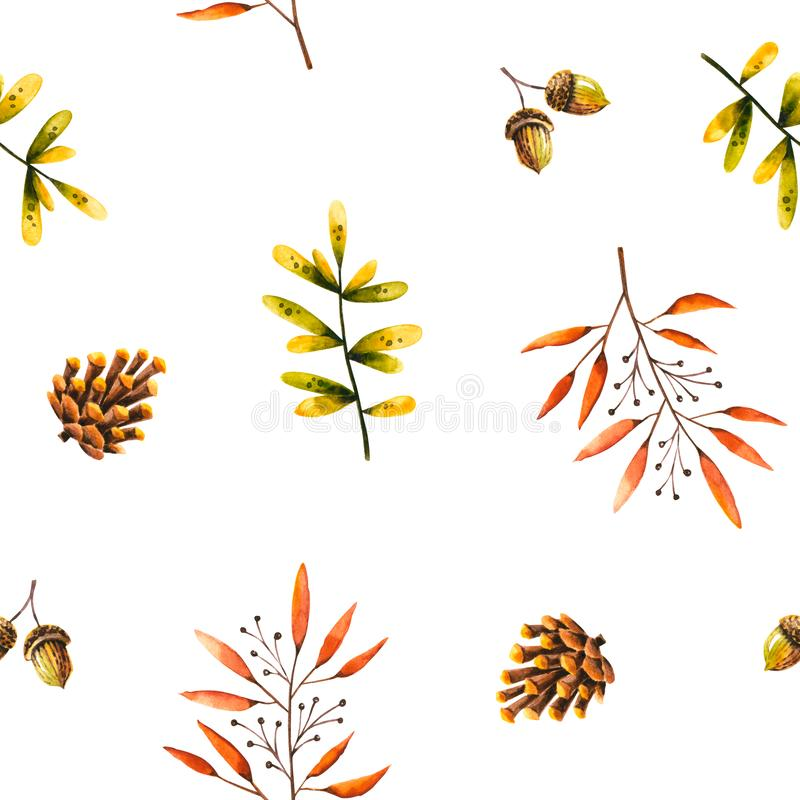 Seamless pattern with watercolor sprigs, leaves, pine cone, acorn. Illustration isolated on white. Hand drawn autumn items. Perfect for wallpaper, poster royalty free illustration