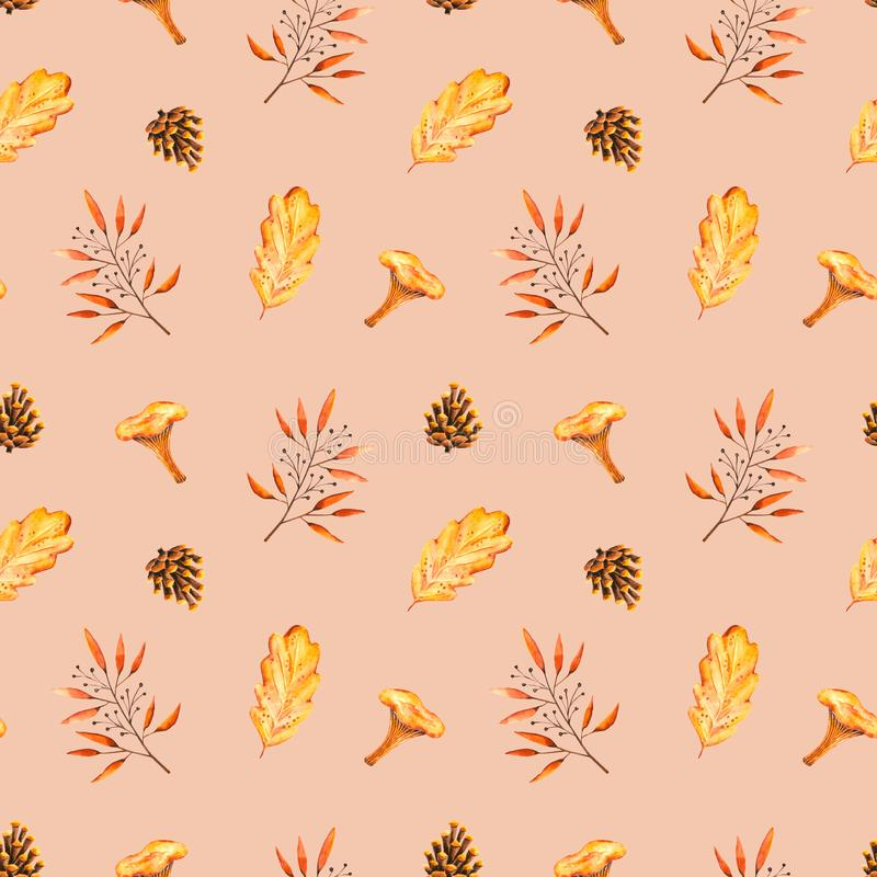 Seamless pattern with watercolor sprigs, leaves, pine cone, mushroom. Illustration isolated. Hand drawn autumn items. Perfect for wallpaper, poster, vintage royalty free illustration