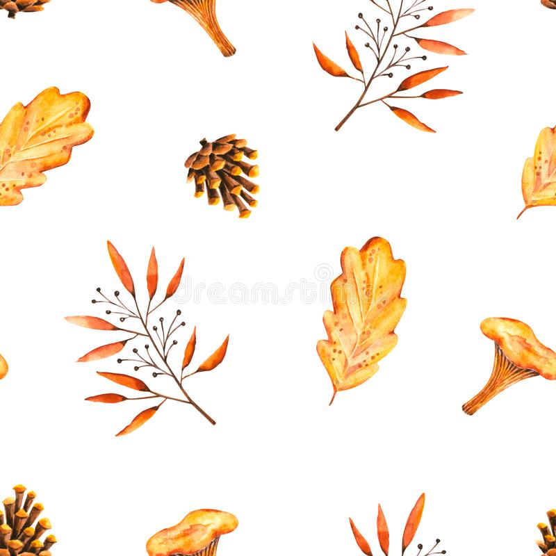 Seamless pattern with watercolor sprigs, leaves, pine cone, mushroom. Illustration isolated on white. Hand drawn autumn items. Perfect for wallpaper, poster stock illustration
