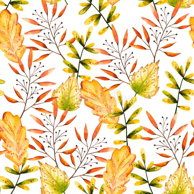 Seamless pattern with watercolor sprigs, oak and birch leaves, berries. Illustration isolated on white. Hand drawn autumn items. Perfect for wallpaper, vintage vector illustration