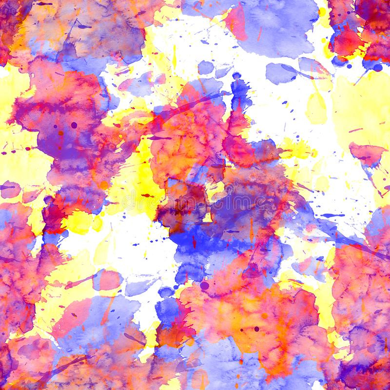 Seamless pattern of watercolor stains: yellow, pink, purple blotches on a white background. Seamless pattern of watercolor stains: yellow, pink, purple blotches royalty free illustration