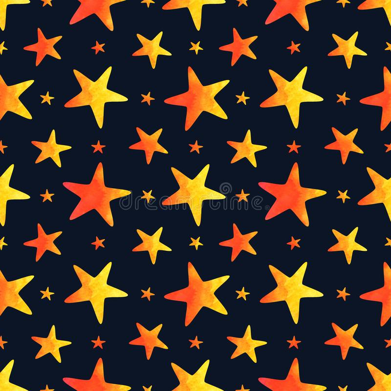 Seamless pattern with watercolor stars on navy blue background royalty free illustration