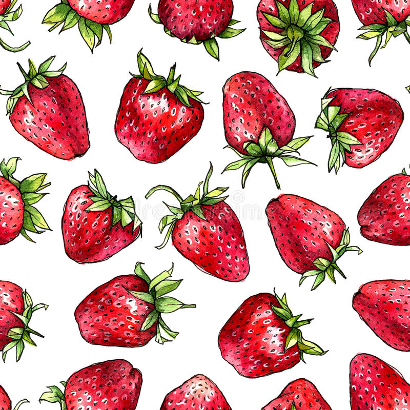 Seamless pattern of watercolor strawberries. vector illustration
