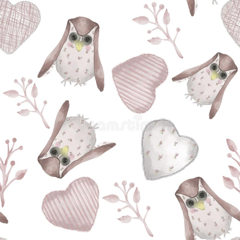 Seamless pattern. Watercolor style textile stuffed owls, branches and hearts. Valentines day. Seamless pattern. Watercolor style textile stuffed owls, branches royalty free illustration