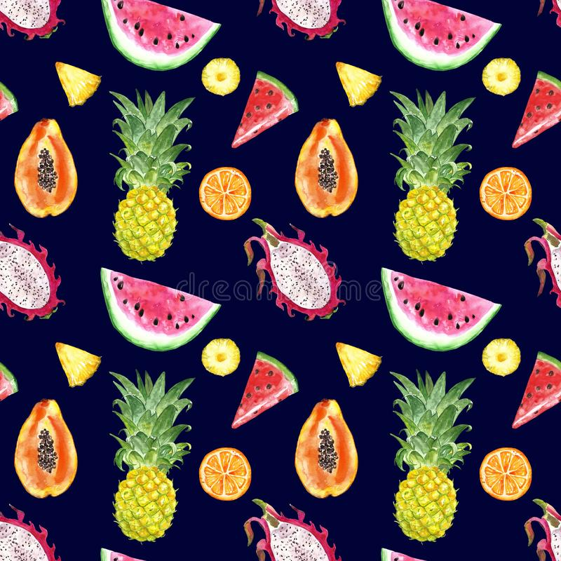 Seamless pattern with watercolor summer exotic fruits - watermelon slice, pineapple, papaya, dragon fruit on navy blue background. Watercolor summer exotic royalty free illustration