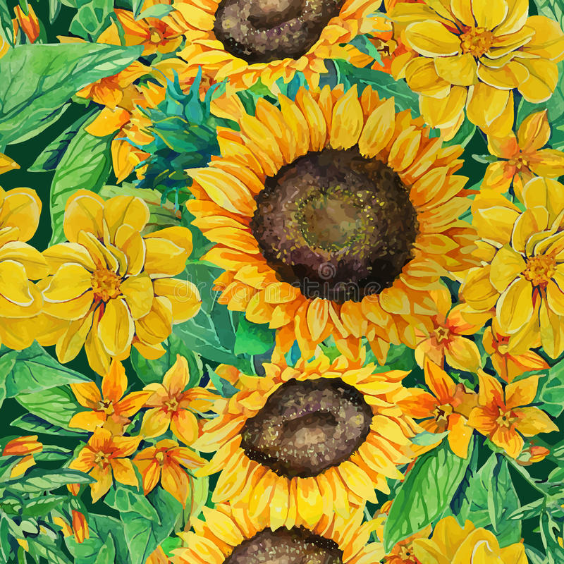 Seamless pattern of watercolor sunflowers with vector illustration