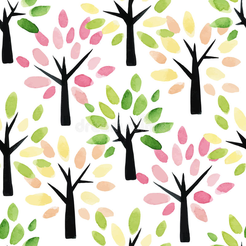 Seamless pattern with watercolor trees. vector illustration