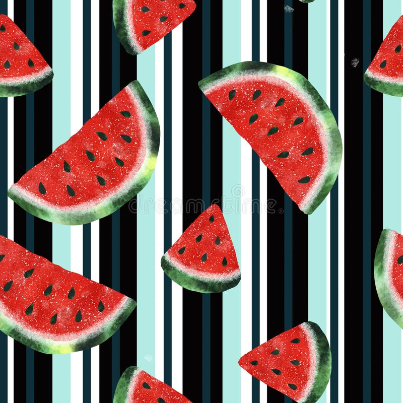 Seamless pattern with watercolor watermelon vector illustration