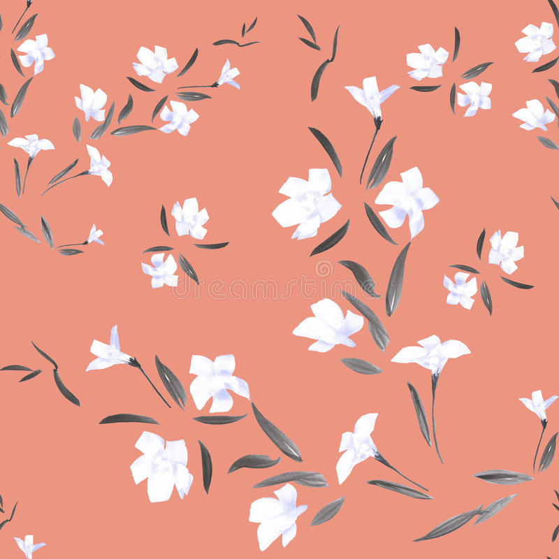 Seamless pattern watercolor white flowers on a coral background royalty free stock photography