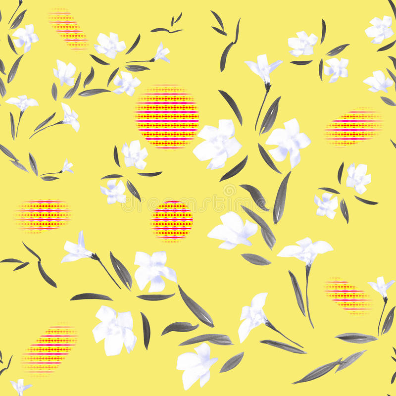 Seamless pattern watercolor white flowers on a yellow background stock photos