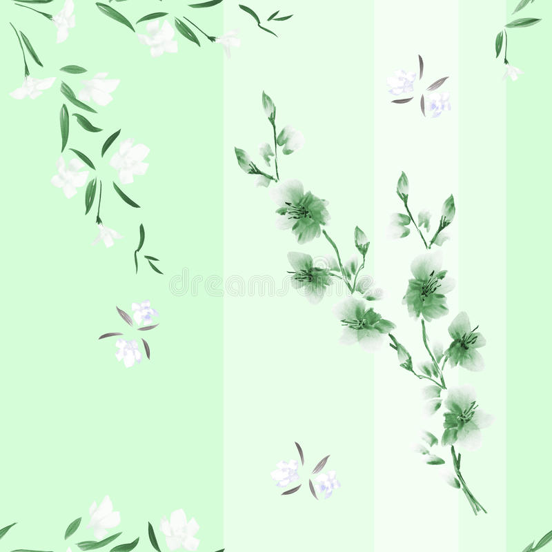Seamless pattern watercolor of white and green flowers on a green background with vertical stripes royalty free stock images