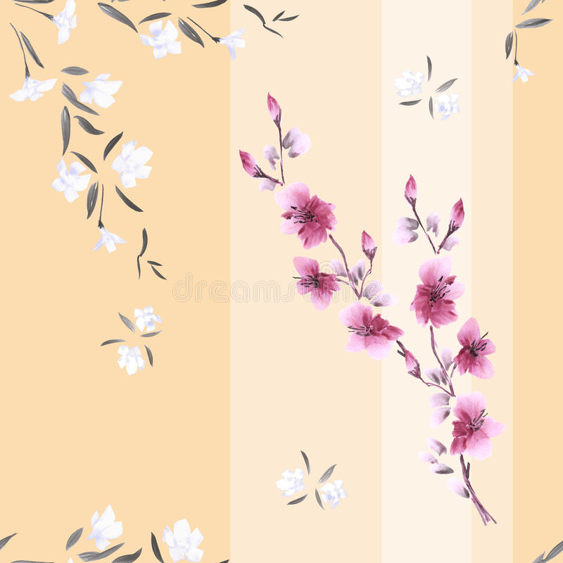 Seamless pattern watercolor of white and pink flowers on a beige background with vertical stripes royalty free stock photo