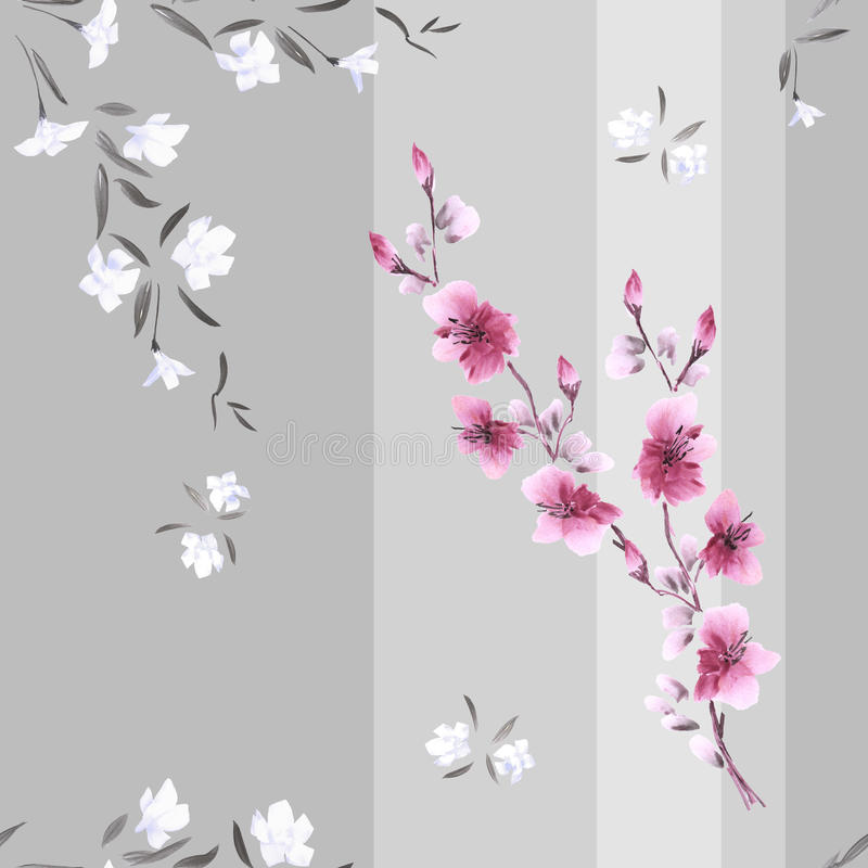 Seamless pattern watercolor of white and pink flowers on a gray background with vertical stripes stock photo