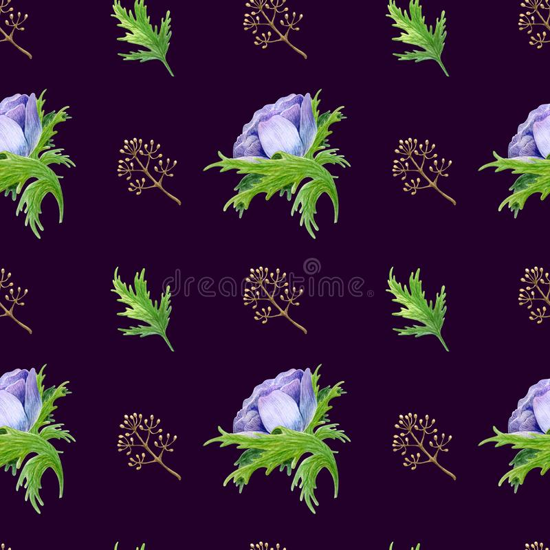 Seamless pattern with watercolor white purple rose flowers. Spring floral design for wedding invitation royalty free stock photo