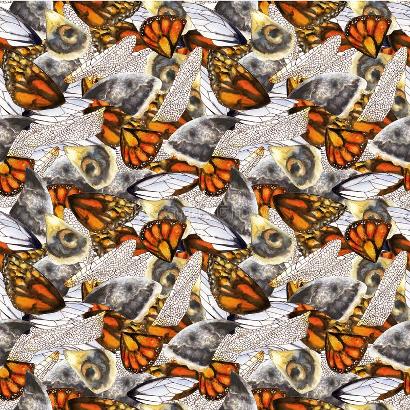 Seamless pattern of watercolor wings of butterflies and moths stock image