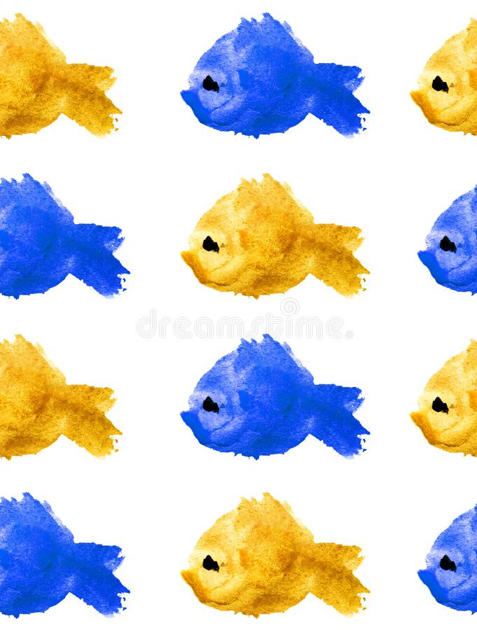 Seamless pattern of watercolor yellow and blue silhouettes of fishes with black eye on white background isolated in the form of a stock illustration