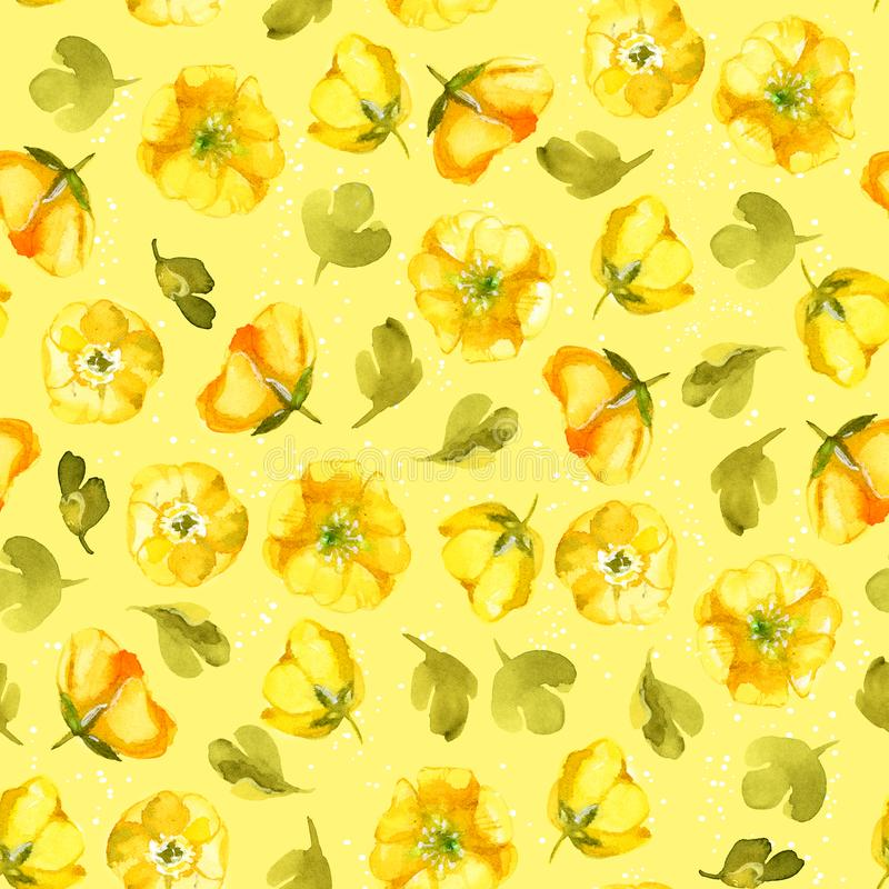 Seamless pattern of watercolor yellow flower on yellow background. Wildflowers for wedding cards. royalty free illustration