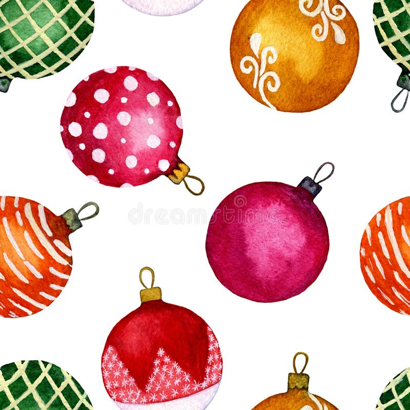Seamless pattern watercolour Christmas balls on the white background. Perfect for backgrounds, textures, wrapping paper, patterns, stock illustration