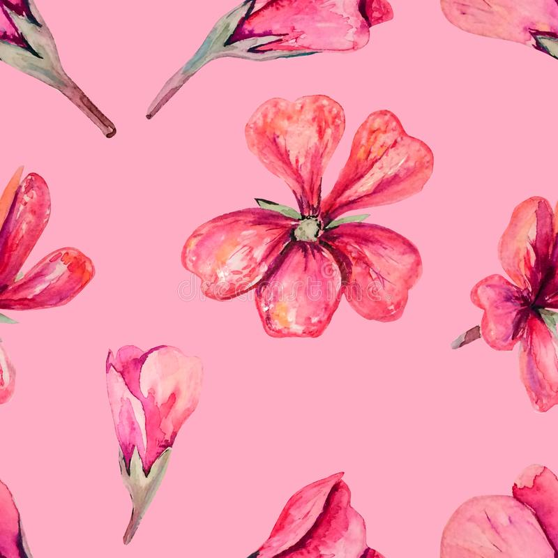 Seamless pattern with watercolour soft pink geranium. Floral romantic elements on pink backdrop. Endless texture for fabric, stationary, wallpapers vector illustration