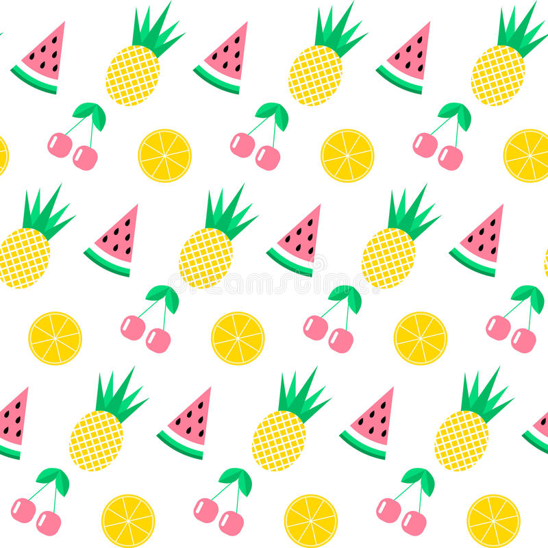 Seamless pattern with watermelon, pineapple, cherry and orange on white background. Cute background. Bright summer fruits i royalty free illustration