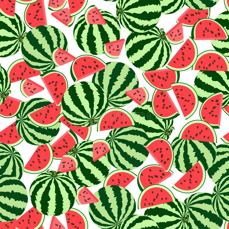Seamless pattern whole, pieces of watermelon royalty free illustration