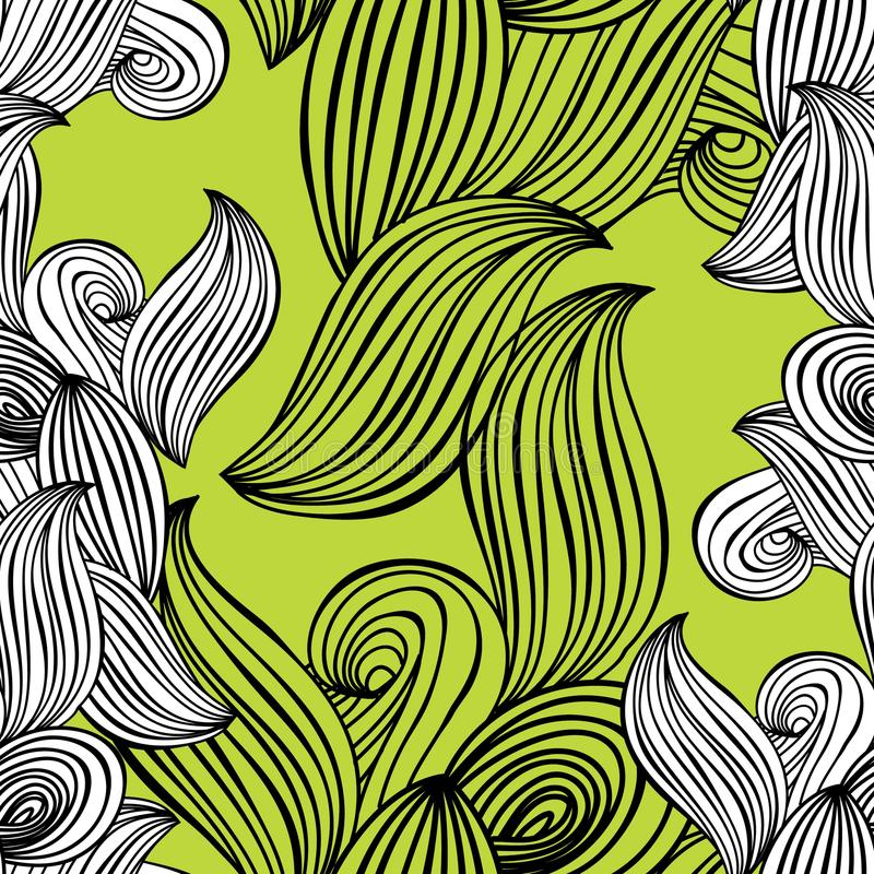 Download Seamless Pattern Wave Black And White Hand Drawn Lime Green Background For Wallpaper