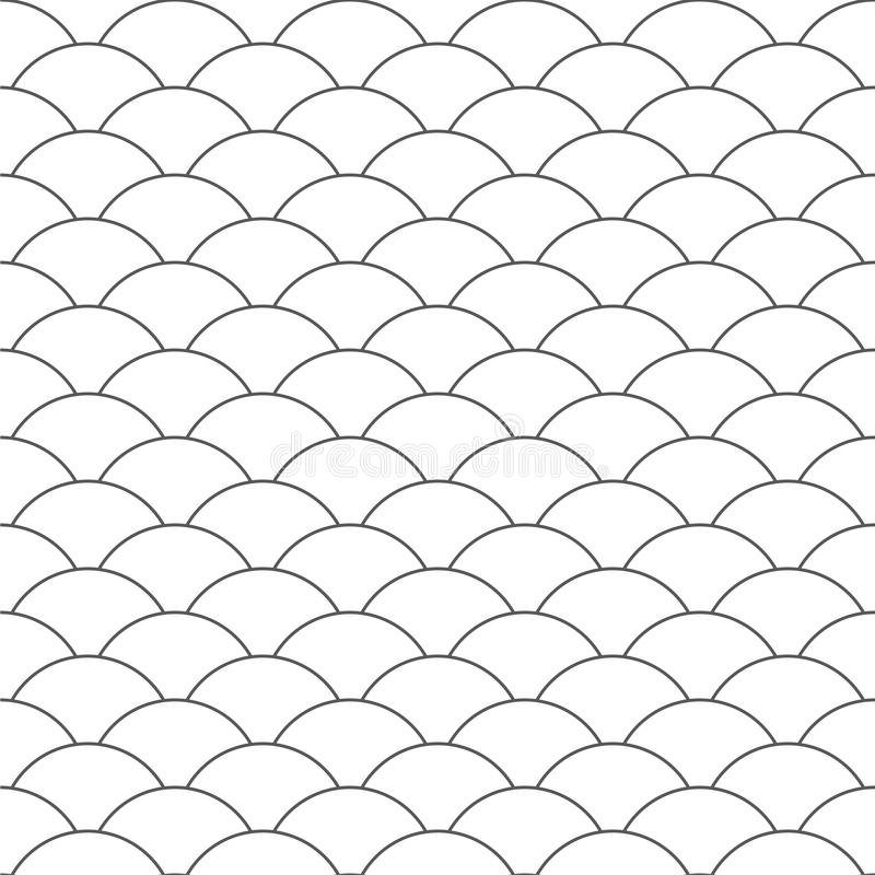 Seamless pattern. Wave. Fish scales texture. Vector illustration. Scrapbook, gift wrapping paper, textiles. Black and white stock illustration