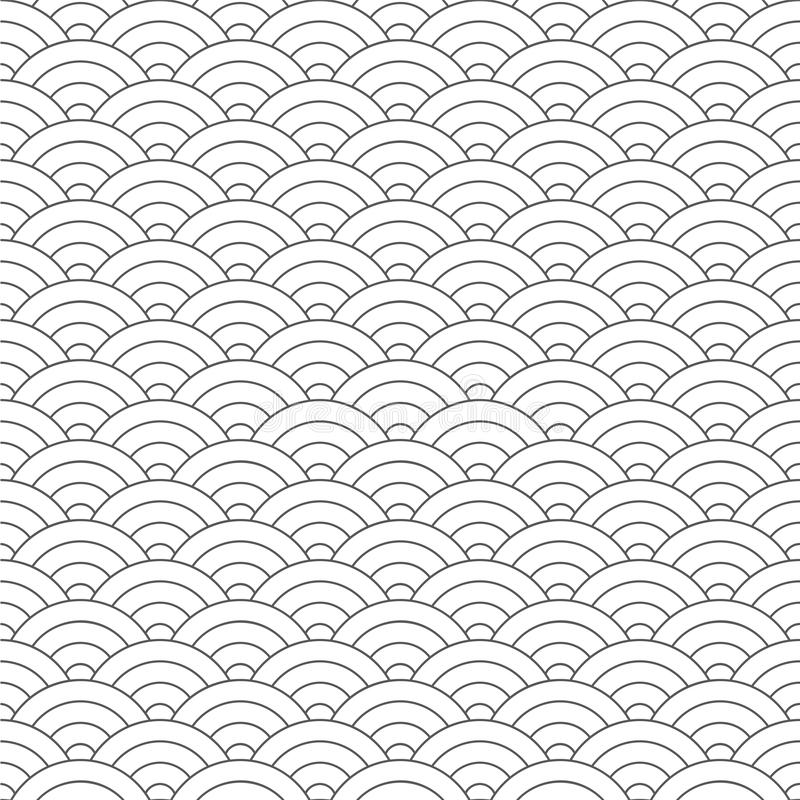 Seamless pattern. Wave. Fish scales texture. Vector illustration. Scrapbook, gift wrapping paper, textiles. Black and white simple. Background royalty free illustration