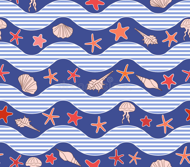 Seamless pattern with waves royalty free illustration